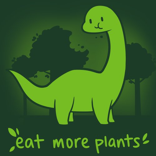 a8920c4a Eat More Plants T-Shirt TeeTurtle Green t-shirt with a green dinosaur eating