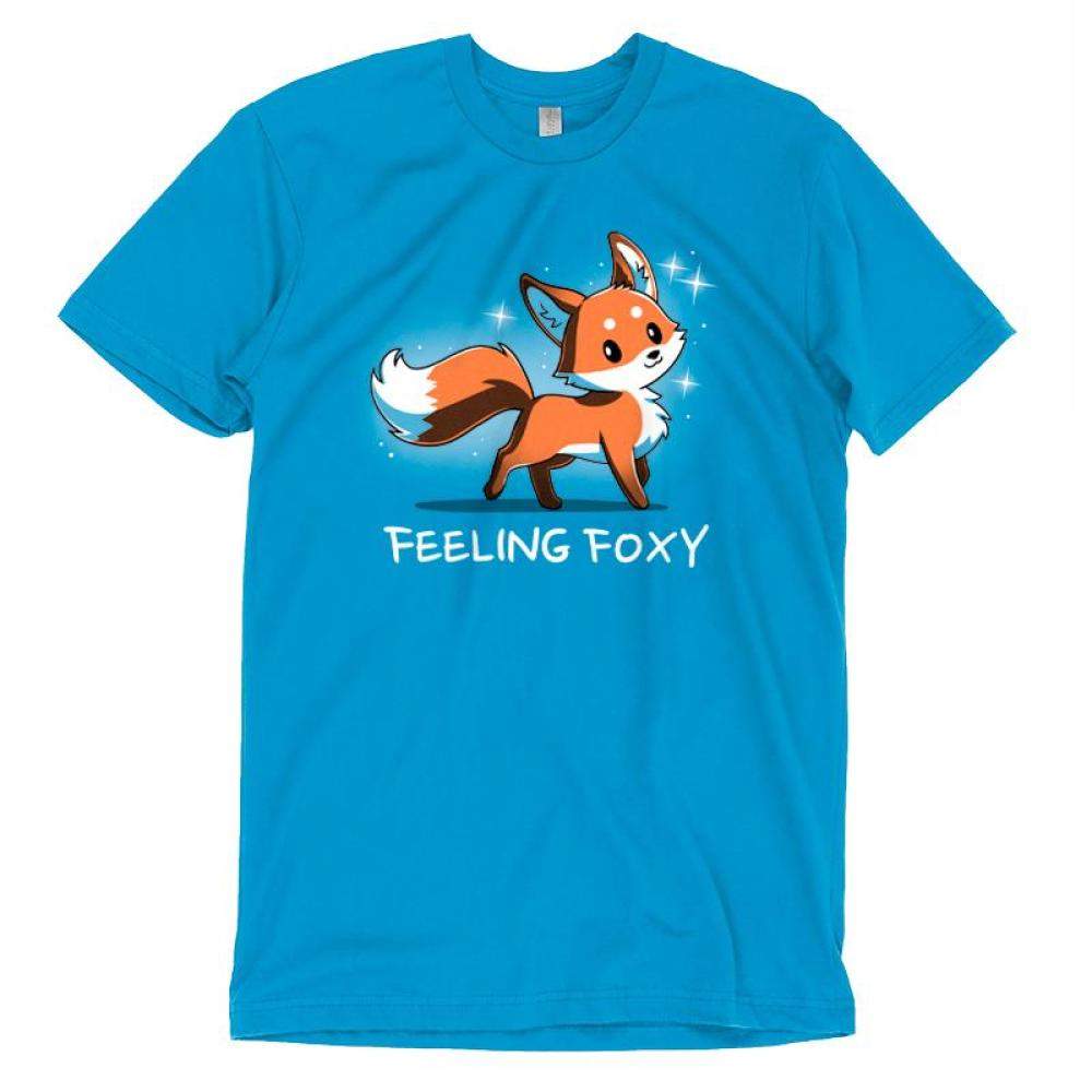 Feeling Foxy T-Shirt TeeTurtle Blue t-shirt with a red orange fox with sparkles around him and shirt text