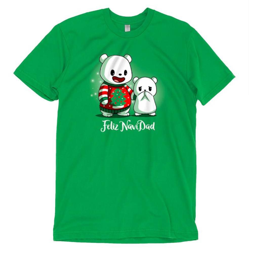 Feliz NaviDAD T-Shirt TeeTurtle Feliz NaviDAD T-Shirt TeeTurtle Green T-Shirt featuring two bears, one wearing a Christmas sweater, with shirt text Feliz NaviDAD