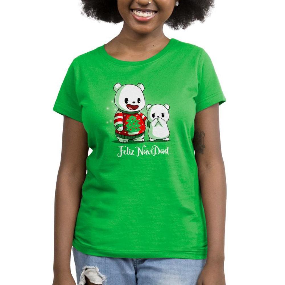 Feliz NaviDAD Women's T-Shirt Model TeeTurtle Feliz NaviDAD T-Shirt TeeTurtle Green T-Shirt featuring two bears, one wearing a Christmas sweater, with shirt text Feliz NaviDAD