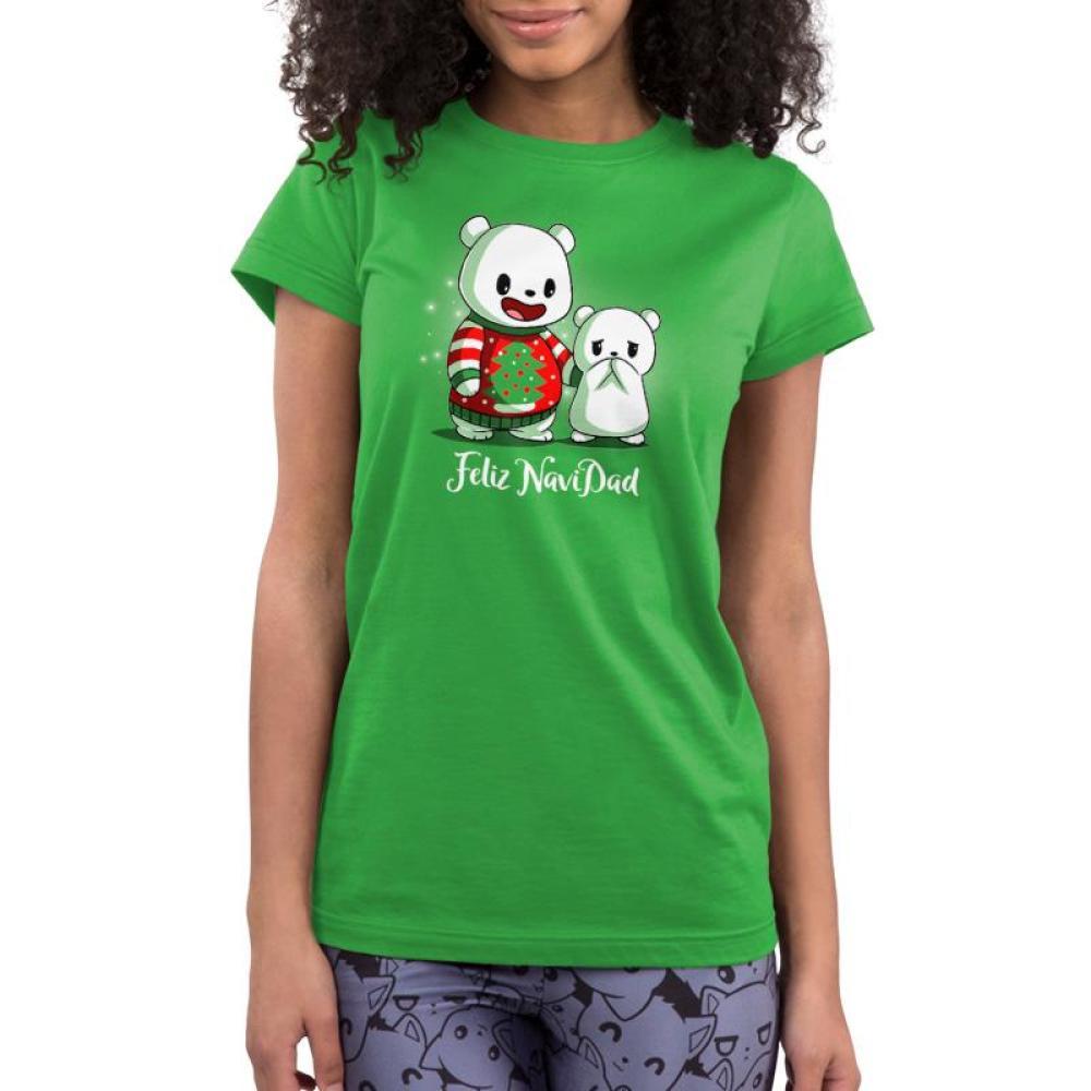 Feliz NaviDAD Juniors T-Shirt Model TeeTurtle Feliz NaviDAD T-Shirt TeeTurtle Green T-Shirt featuring two bears, one wearing a Christmas sweater, with shirt text Feliz NaviDAD