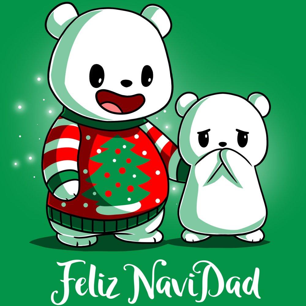 Feliz NaviDAD T-Shirt TeeTurtle Green T-Shirt featuring two bears, one wearing a Christmas sweater, with shirt text Feliz NaviDAD