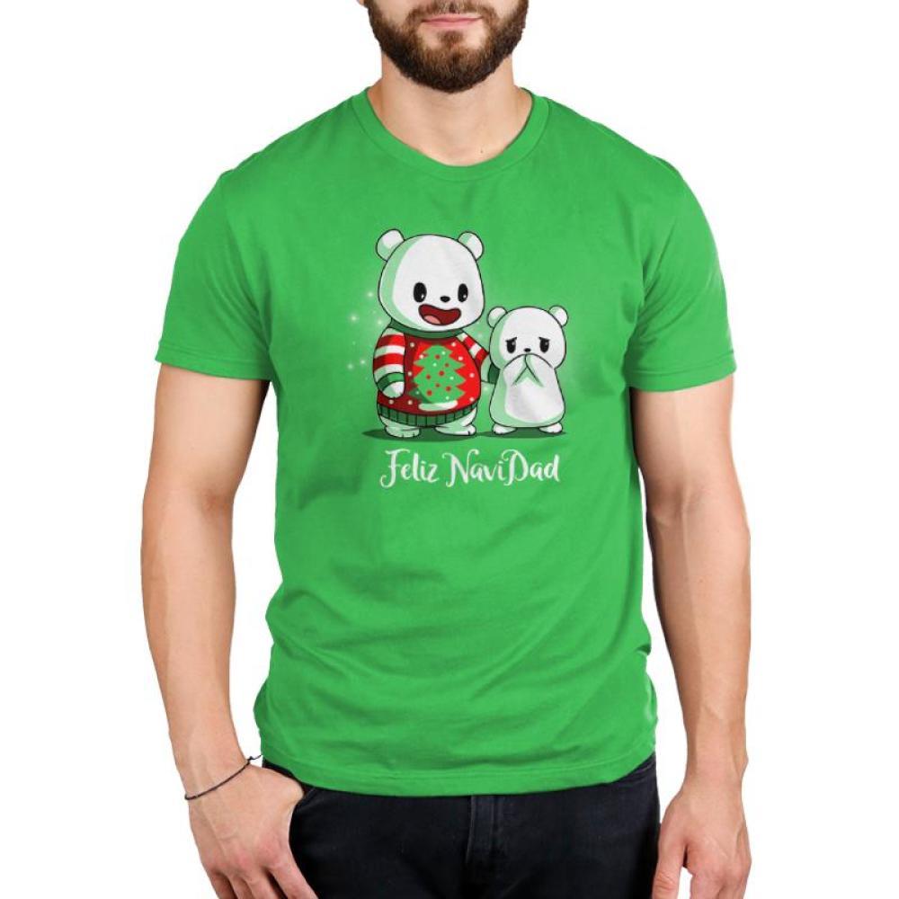 Feliz NaviDAD Men's T-Shirt Model TeeTurtle Feliz NaviDAD T-Shirt TeeTurtle Green T-Shirt featuring two bears, one wearing a Christmas sweater, with shirt text Feliz NaviDAD