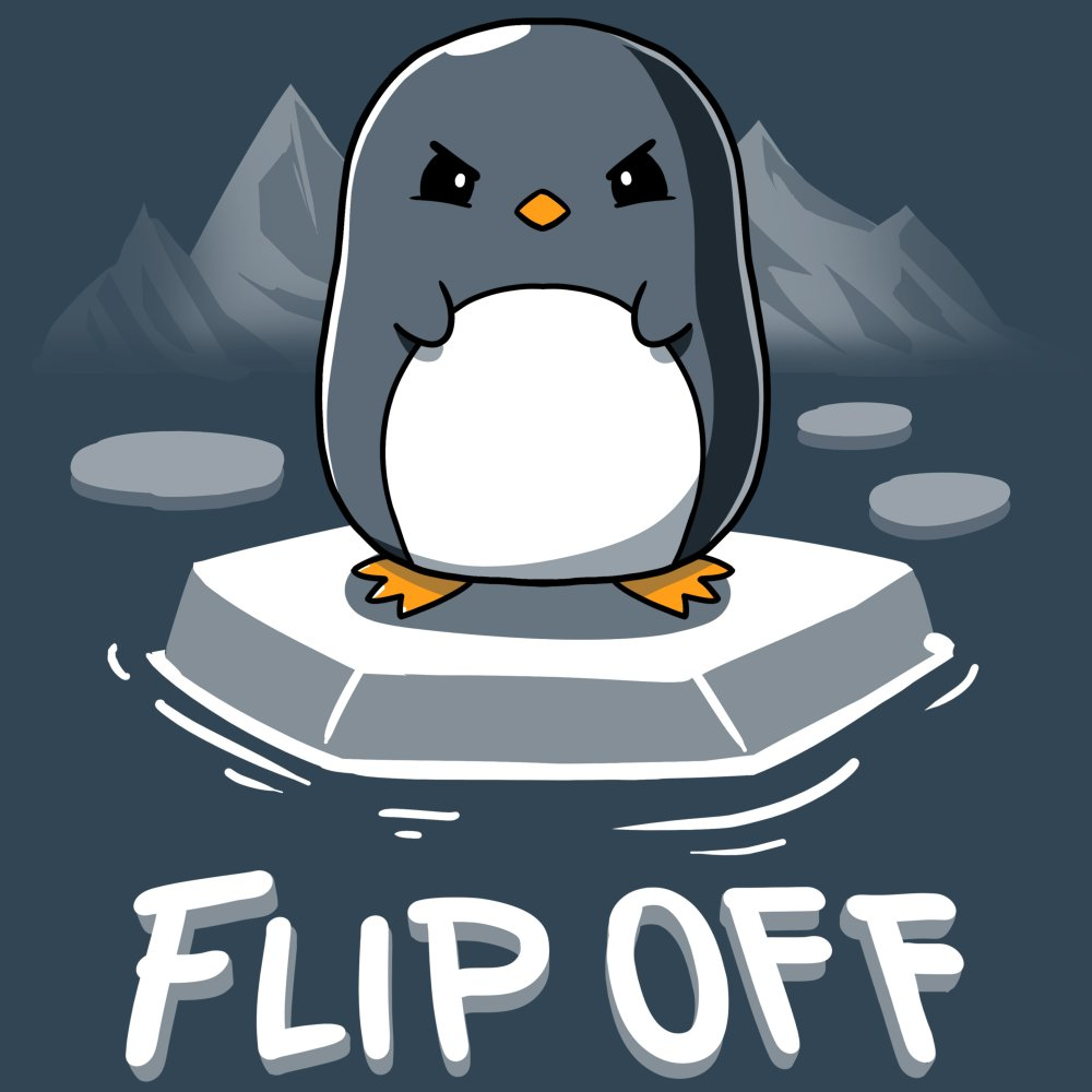 Flip Off T-Shirt TeeTurtle gray t-shirt featuring an angry looking penguin standing ice with glaciers in the background and shirt text