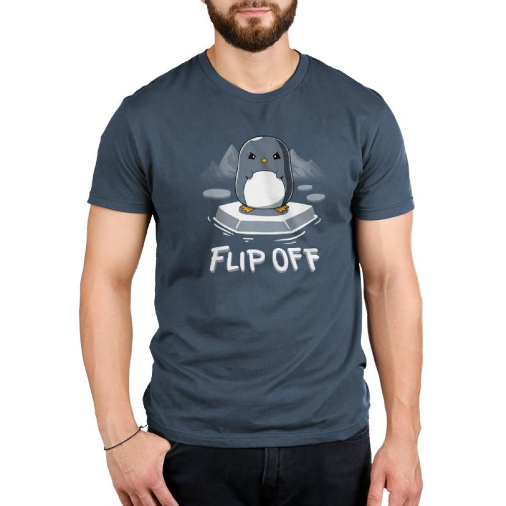 Flip Off Men's T-Shirt Model TeeTurtle gray t-shirt featuring an angry looking penguin standing ice with glaciers in the background and shirt text