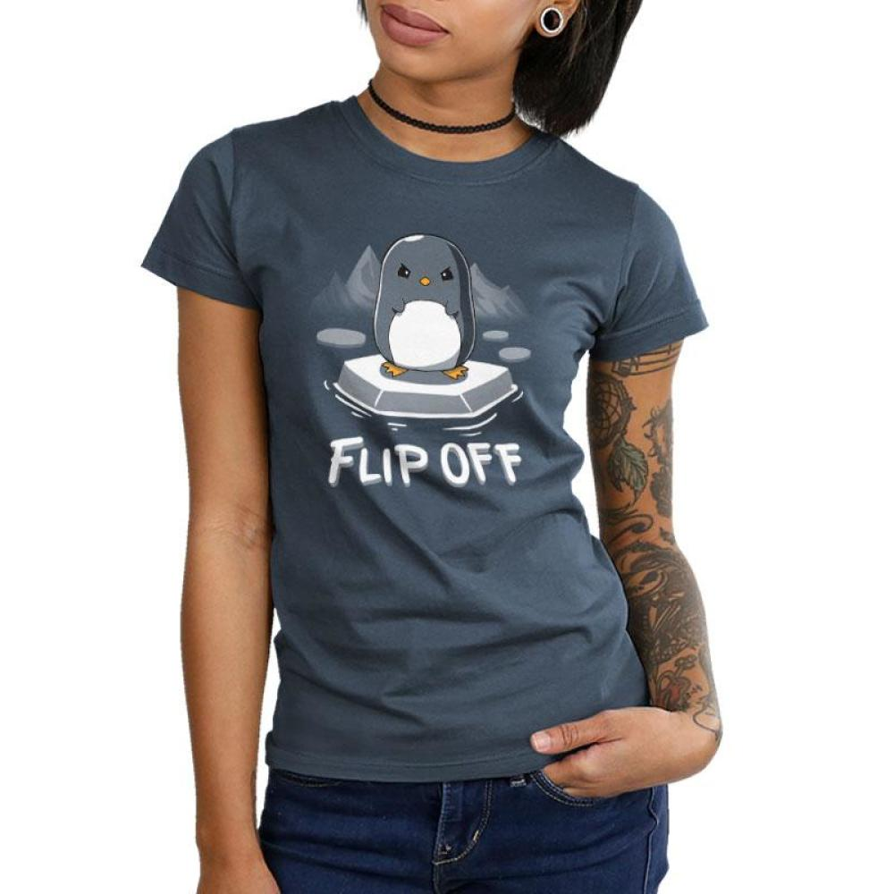 Flip Off Juniors T-Shirt Model TeeTurtle gray t-shirt featuring an angry looking penguin standing ice with glaciers in the background and shirt text