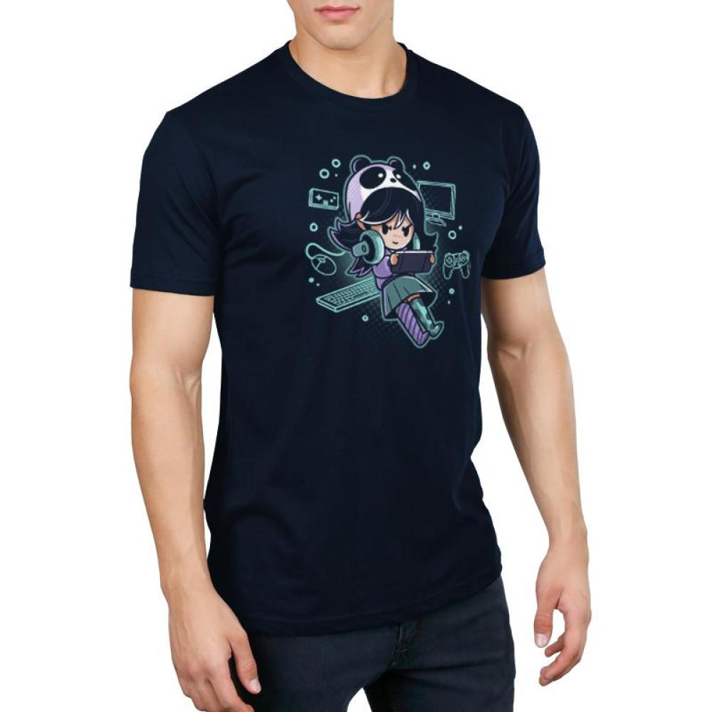 Gamer Girl Men's T-Shirt Model TeeTurtle black t-shirt featuring a girl wearing a panda hat and playing a video game with a bunch of gaming devices surrounding her