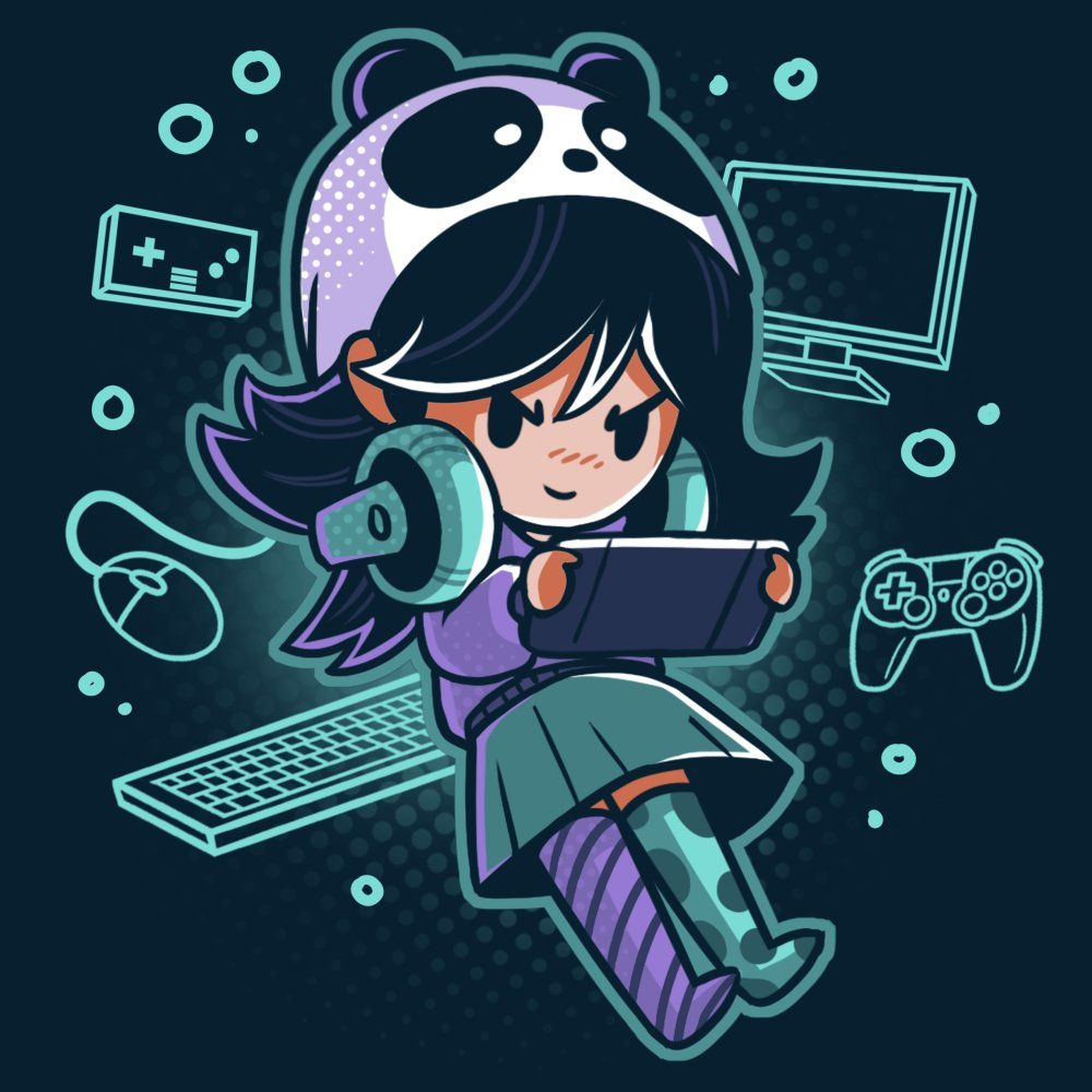 Gamer Girl T-Shirt TeeTurtle black t-shirt featuring a girl wearing a panda hat and playing a video game with a bunch of gaming devices surrounding her