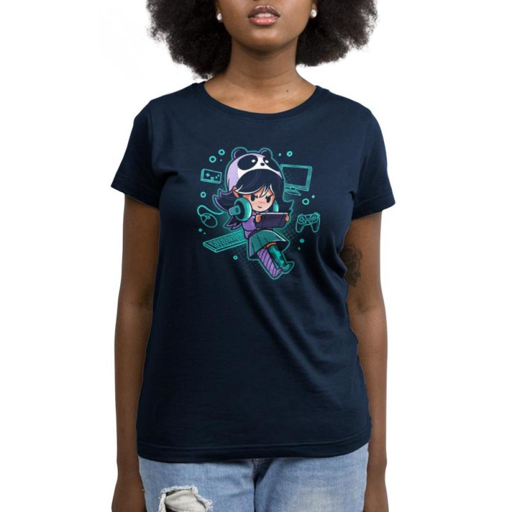 Gamer Girl Women's T-Shirt Model TeeTurtle black t-shirt featuring a girl wearing a panda hat and playing a video game with a bunch of gaming devices surrounding her