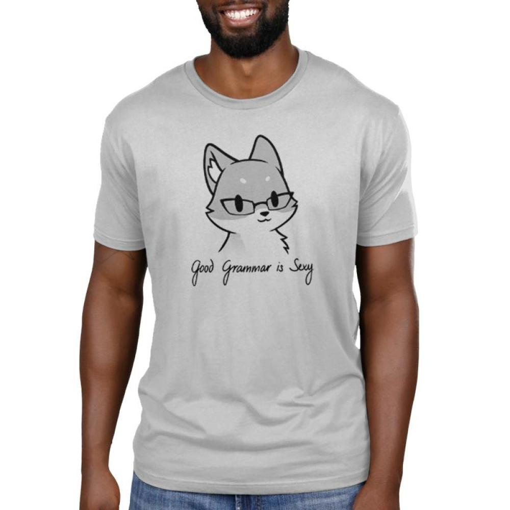Good Grammar is Sexy Men's t-shirt Model TeeTurtle gray t-shirt featuring a gray fox wearing glasses with shirt text beneath him reading