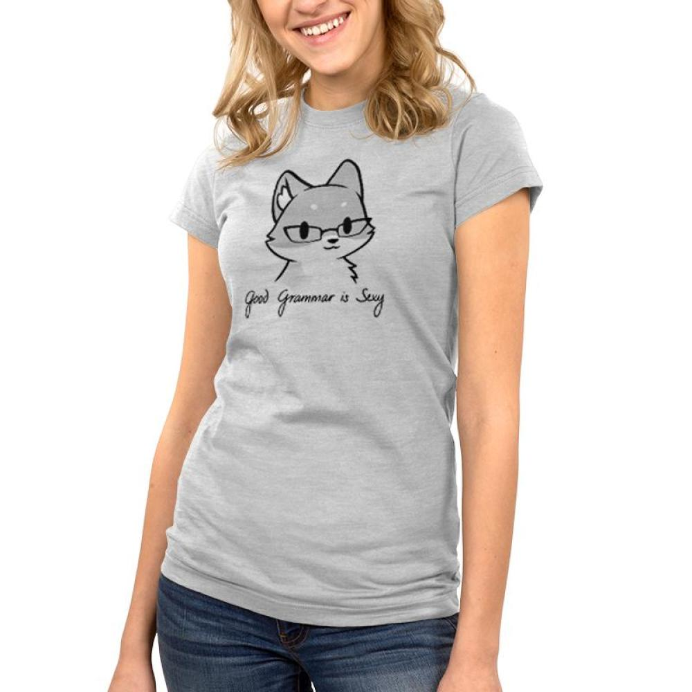 Good Grammar is Sexy Juniors t-shirt modelTeeTurtle gray t-shirt featuring a gray fox wearing glasses with shirt text beneath him reading
