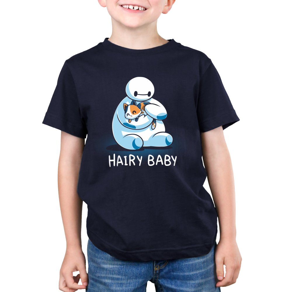 Hairy Baby Kid's T-shirt Model Disney TeeTurtle blue T-shirt featuring Baymax from Big Hero 6 holding a cat with shirt text