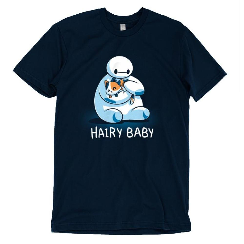 Hairy Baby T-shirt Disney TeeTurtle blue T-shirt featuring Baymax from Big Hero 6 holding a cat with shirt text