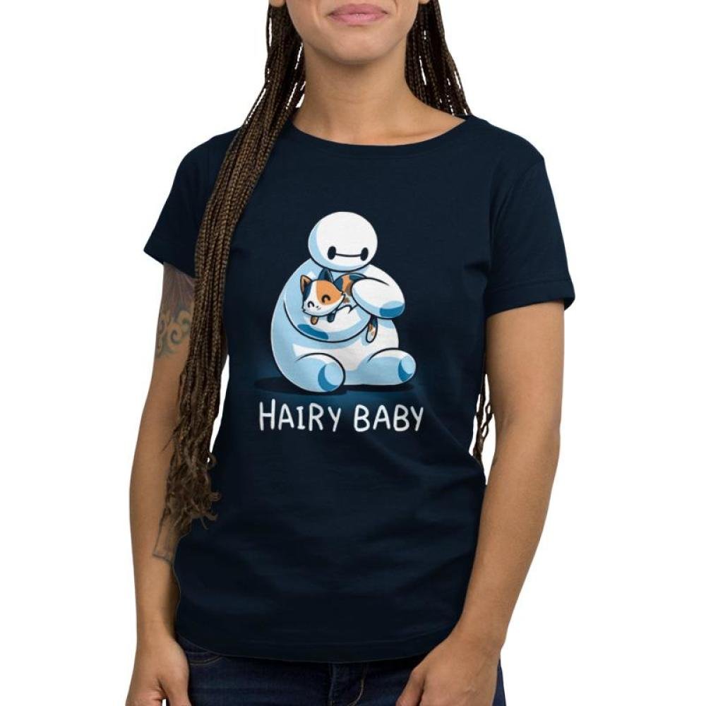 Hairy Baby Women's T-shirt Model Disney TeeTurtle blue T-shirt featuring Baymax from Big Hero 6 holding a cat with shirt text