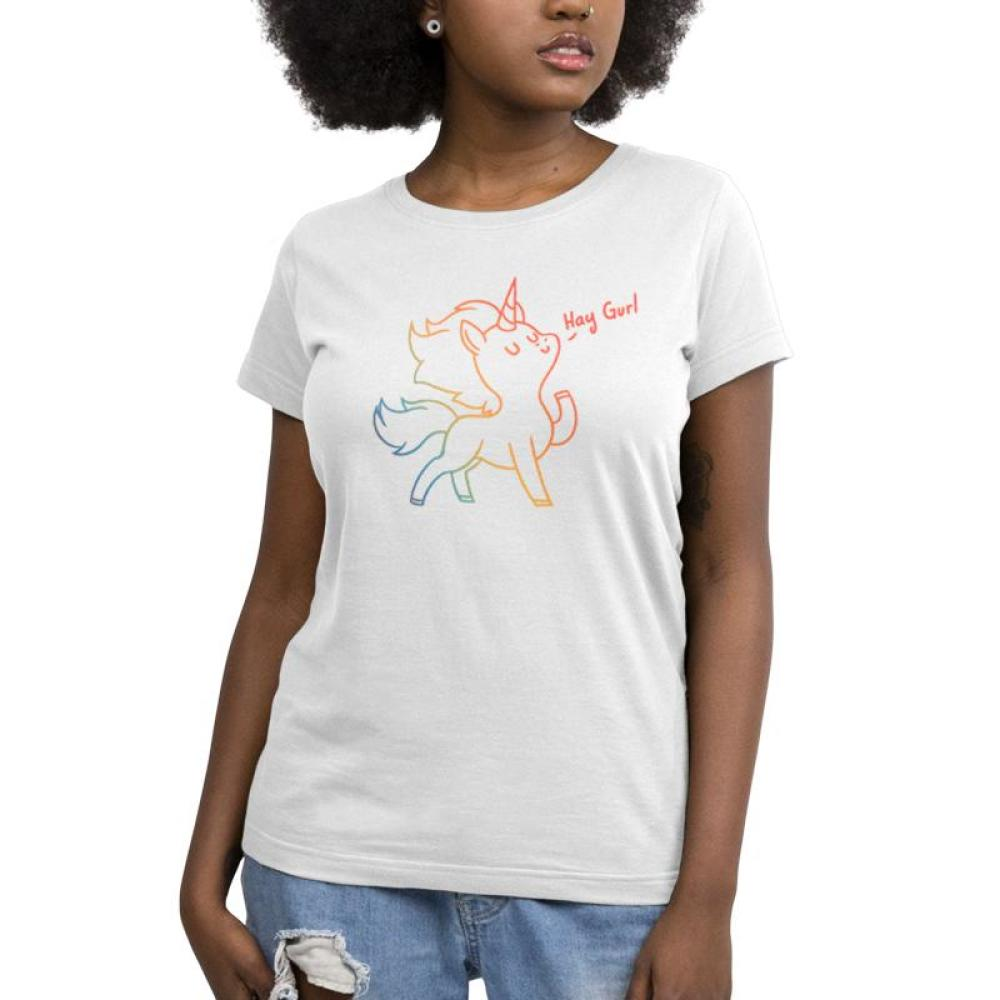 Hay Gurl Juniors T-Shirt Model TeeTurtle White t-shirt with a multicolored unicorn holding up its hoof and saying