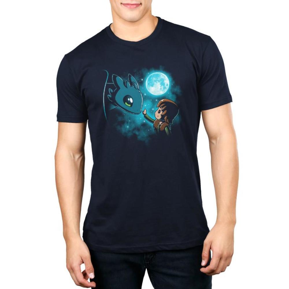 How to Train Your Dragon Men's T-shirt Model Dreamworks TeeTurtle blue t-shirt featuring Hiccup and Toothless from How to Train Your Dragon with the moon and stars behind them