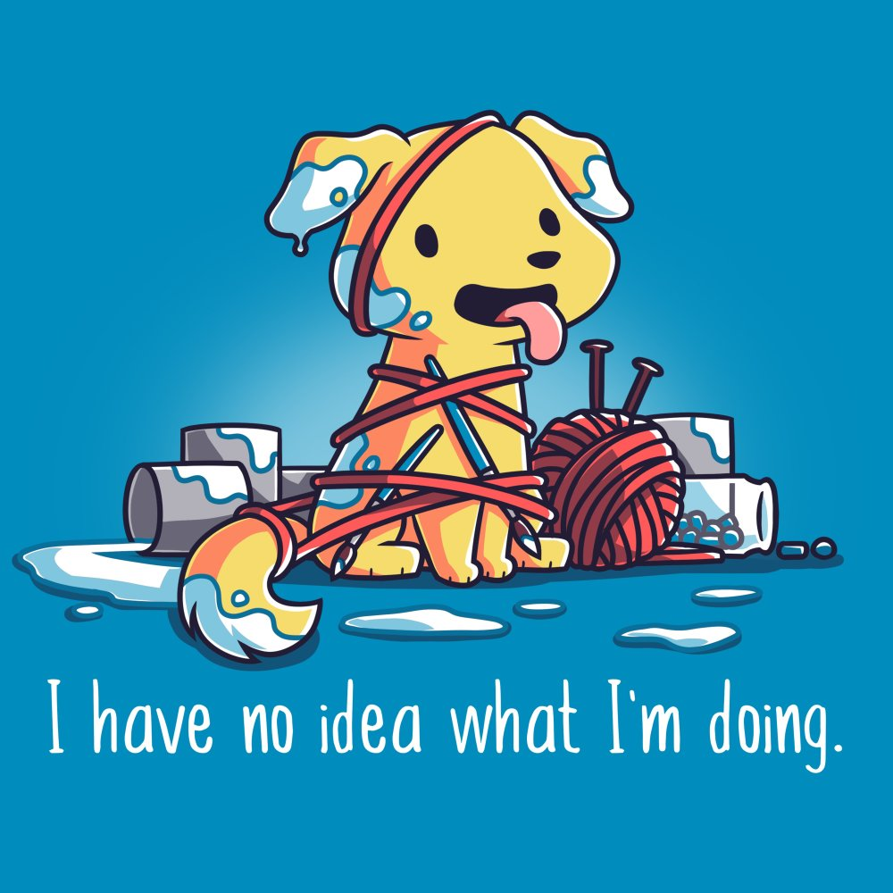 I Have No Idea What I'm Crafting T-shirt TeeTurtle blue t-shirt featuring a dog surrounded by a bunch of arts and crafts materials