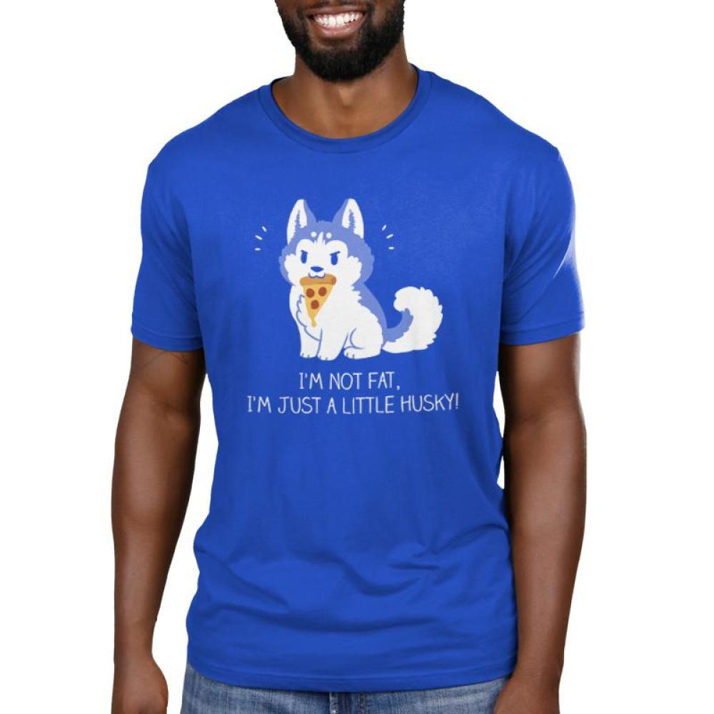 I'm Just a Little Husky! Men's T-shirt Model TeeTurtle blue t-shirt featuring a husky holding a piece of pizza in its mouth
