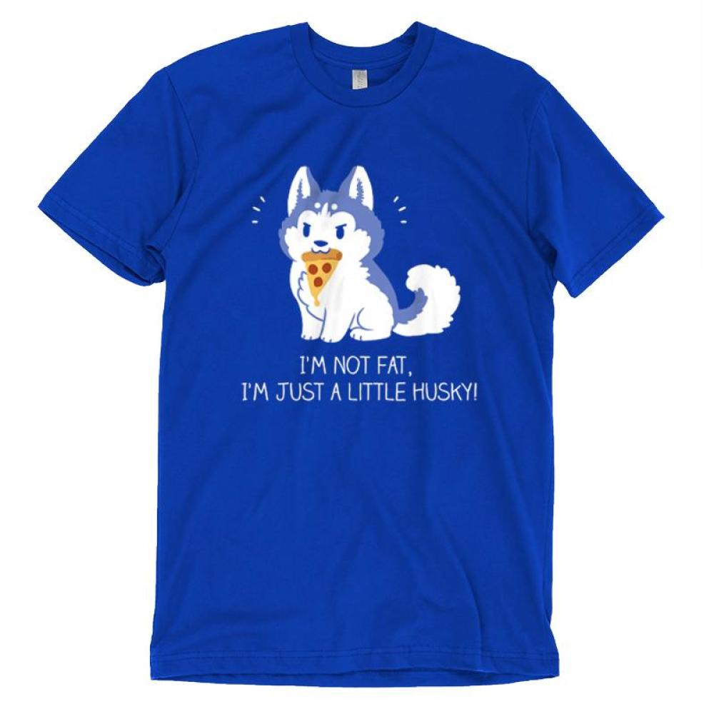 I'm Just a Little Husky! T-shirt TeeTurtle blue t-shirt featuring a husky holding a piece of pizza in its mouth