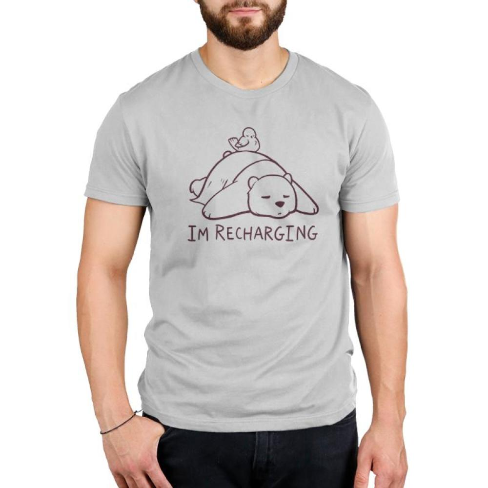 I'm Recharging Men's T-Shirt model TeeTurtle gray t-shirt with a bear sleeping and a bird sleeping on its back with shirt text
