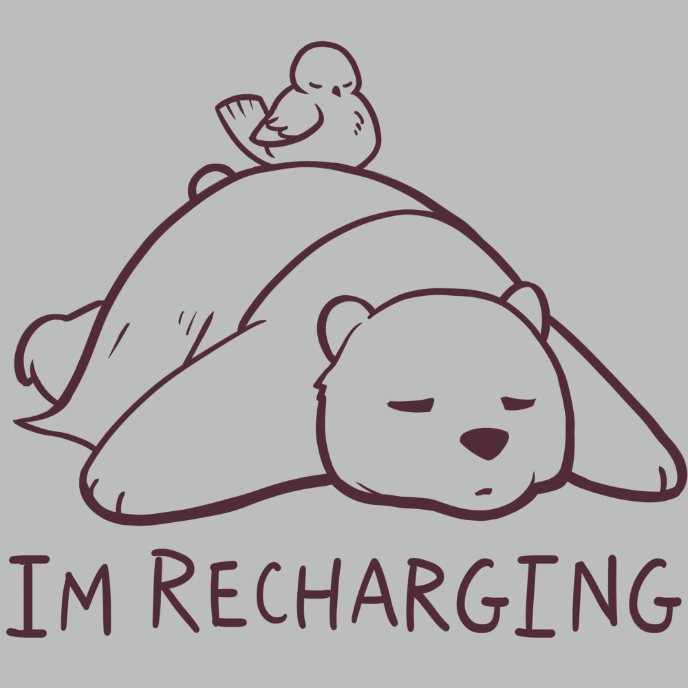 I'm Recharging T-Shirt TeeTurtle gray t-shirt with a bear sleeping and a bird sleeping on its back with shirt text