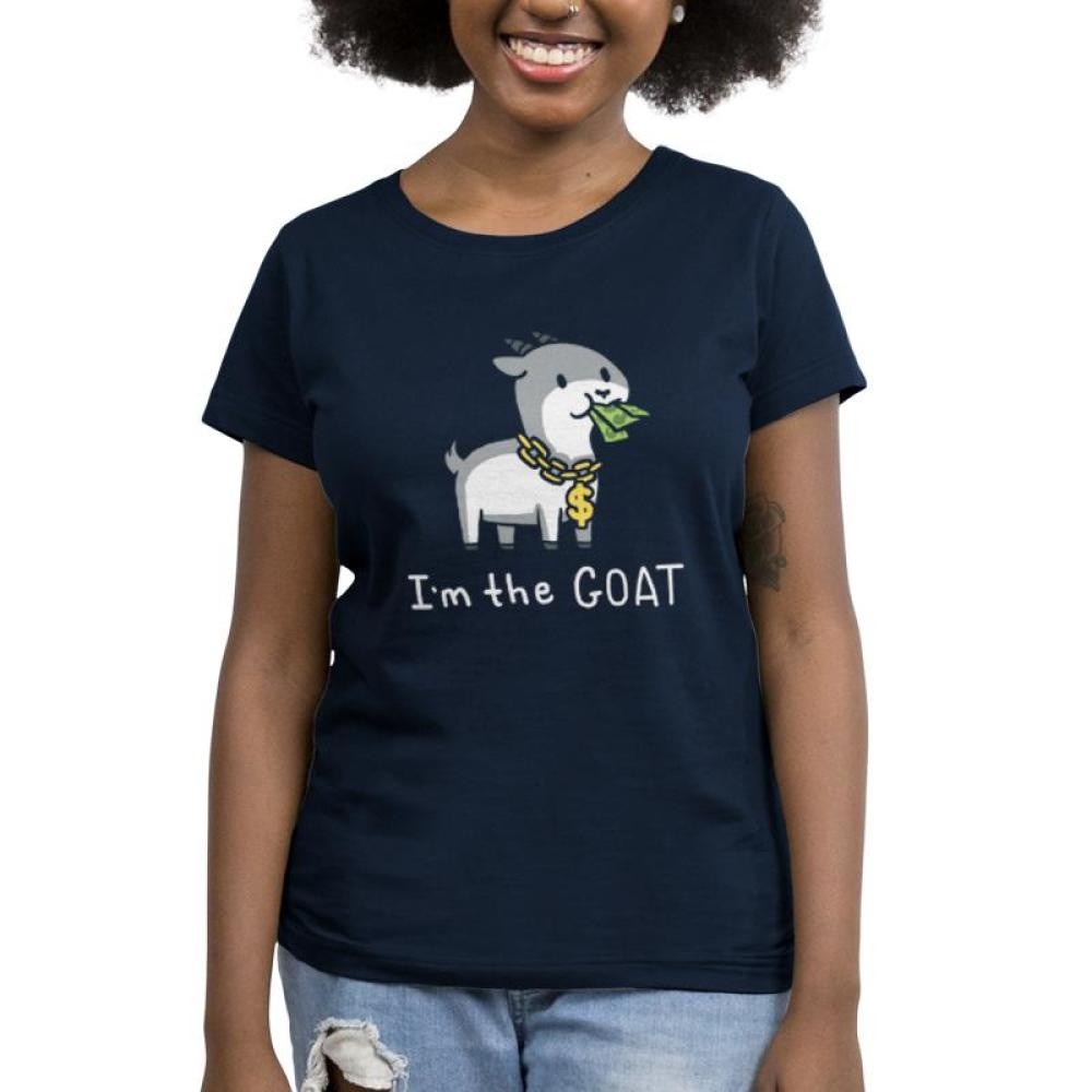 I'm the GOAT Women's T-Shirt Model TeeTurtle Black t-shirt featuring a gray and white goat with a gold chain around his neck and money in his mouth with shirt text