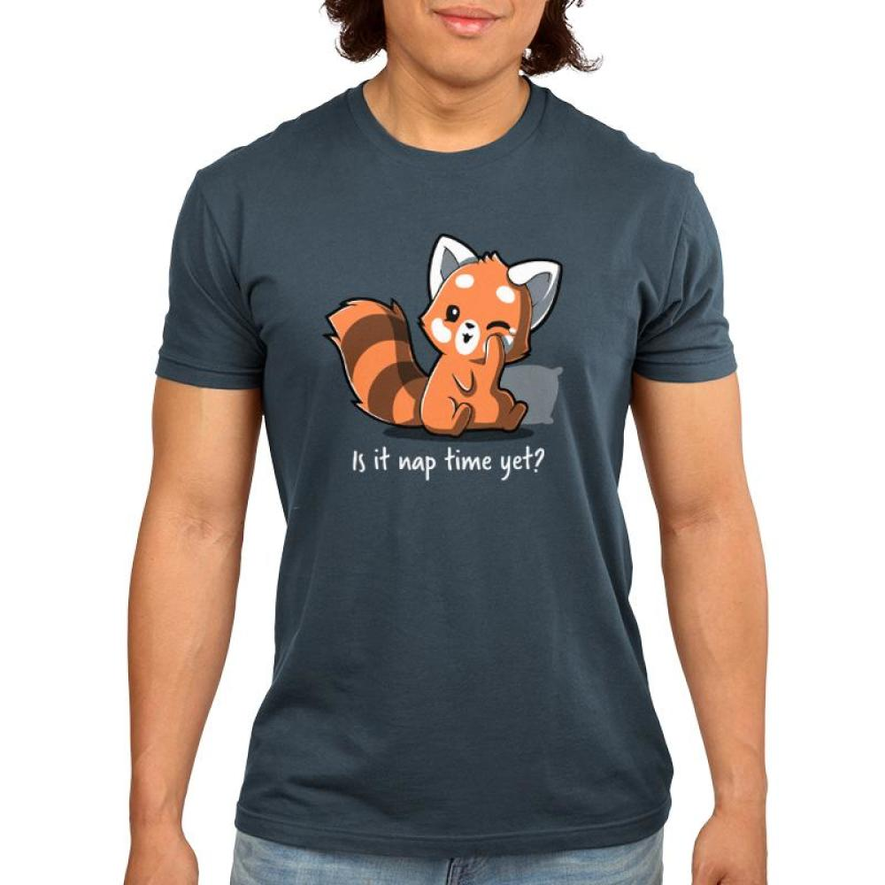 Is It Naptime Yet? Men's T-shirt Model TeeTurtle gray t-shirt featuring a red panda with a pillow behind him and shirt text
