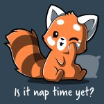 Is It Naptime Yet? T-shirt TeeTurtle gray t-shirt featuring a red panda with a pillow behind him and shirt text