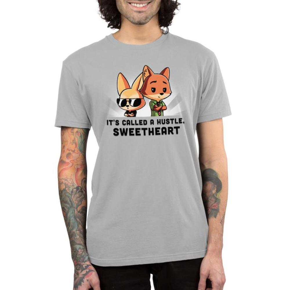 It's Called a Hustle Sweetheart Men's T-Shirt model Disney TeeTurtle gray t-shirt featuring Nick Wilde and Finnick from Zootopia with shirt text