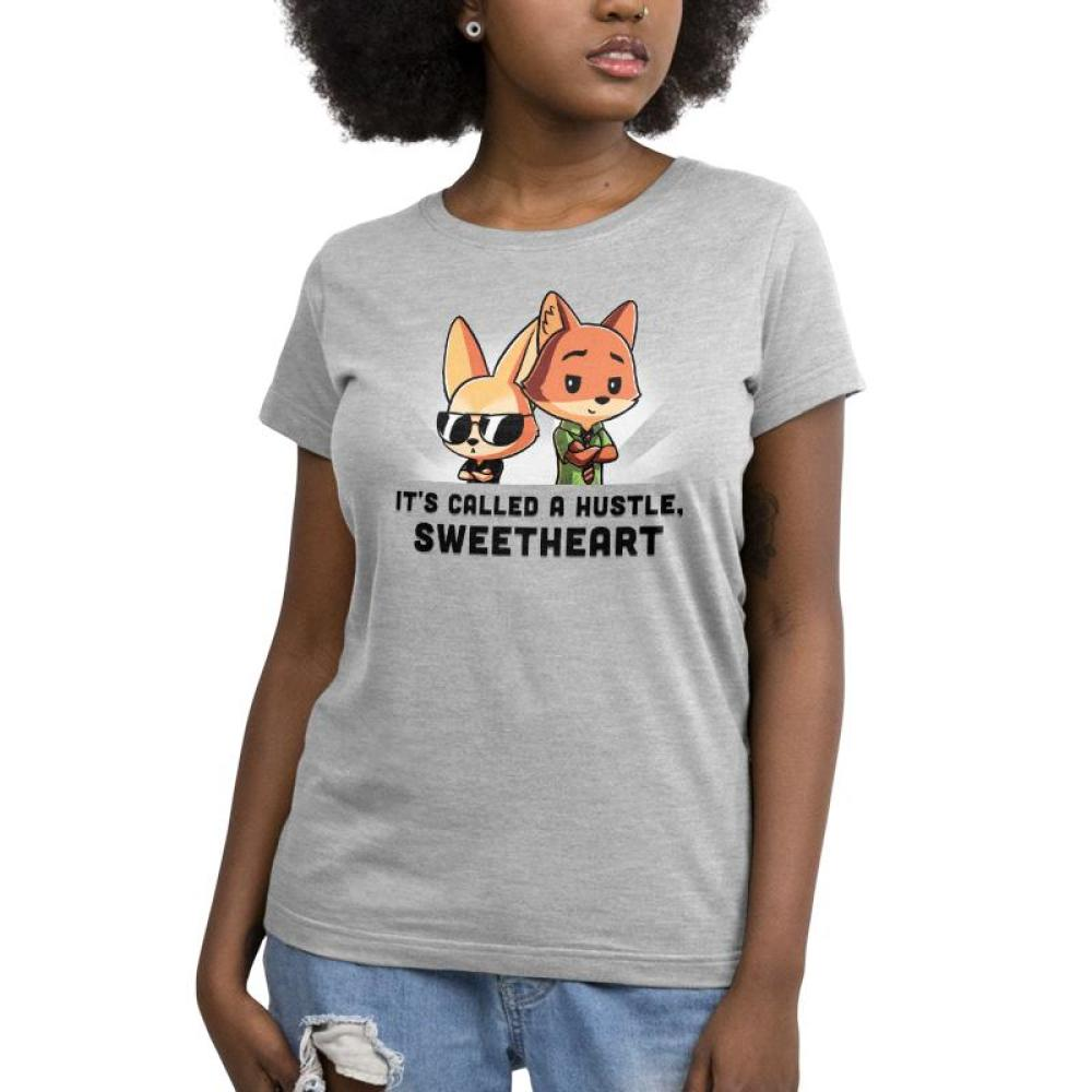 It's Called a Hustle Sweetheart Women's T-Shirt model Disney TeeTurtle gray t-shirt featuring Nick Wilde and Finnick from Zootopia with shirt text