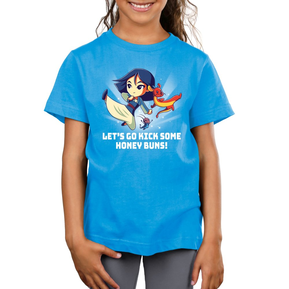Kick Some Honey Buns Kid's T-shirt model Disney TeeTurtle blue t-shirt featuring Mulan, Mushu, and Cri-kee with shirt text