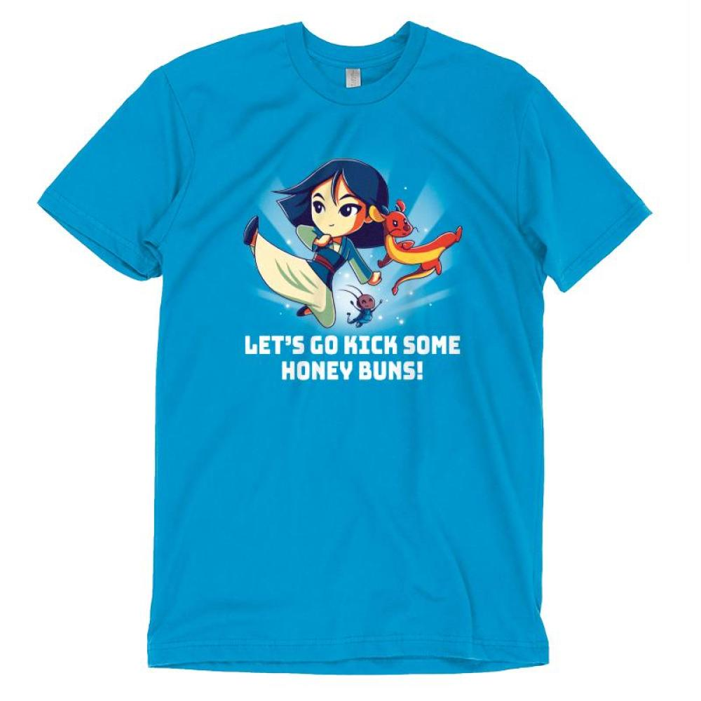 Kick Some Honey Buns T-shirt Disney TeeTurtle blue t-shirt featuring Mulan, Mushu, and Cri-kee with shirt text