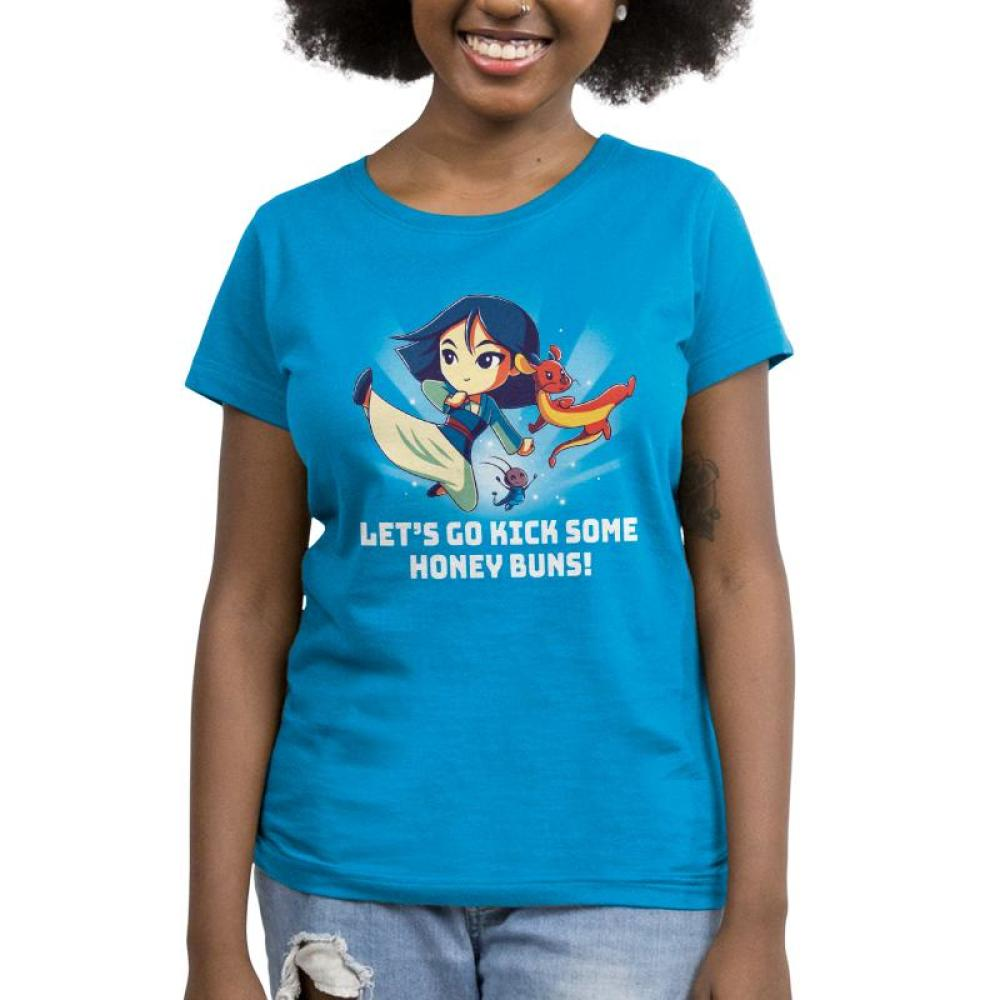 Kick Some Honey Buns Women's T-shirt model Disney TeeTurtle blue t-shirt featuring Mulan, Mushu, and Cri-kee with shirt text