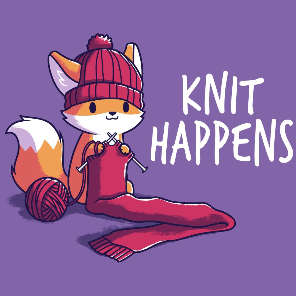 Knit Happens T-Shirt TeeTurtle purple t-shirt featuring a fox wearing a winter hat and knitting a scarf with a ball of yarn next to him and shirt text