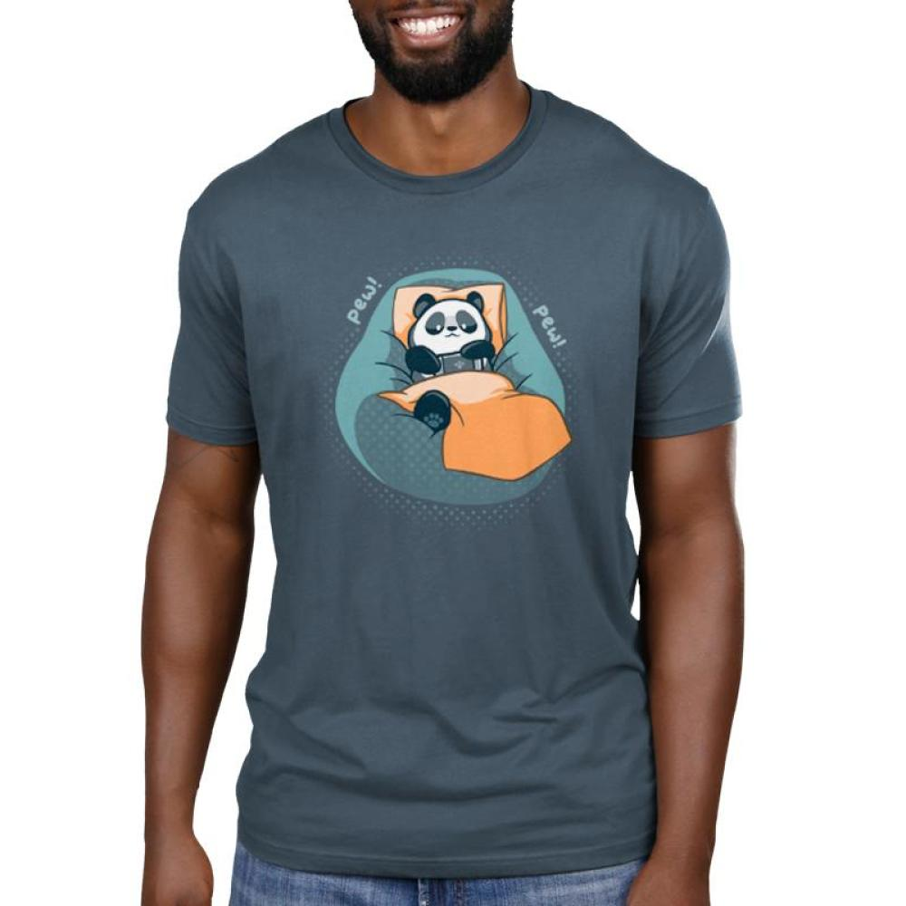 Lazy Day Men's T-Shirt Model TeeTurtle blue t-shirt featuring a panda lying on a blue bean bag chair holding a video game controller with shirt text