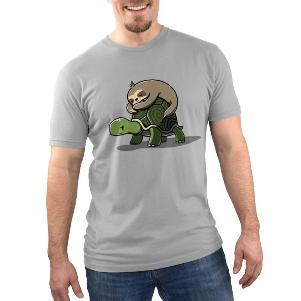 Feeling Slow Men's T-Shirt model TeeTurtle Gray t-shirt featuring a brown sloth sleeping on the back of a turtle