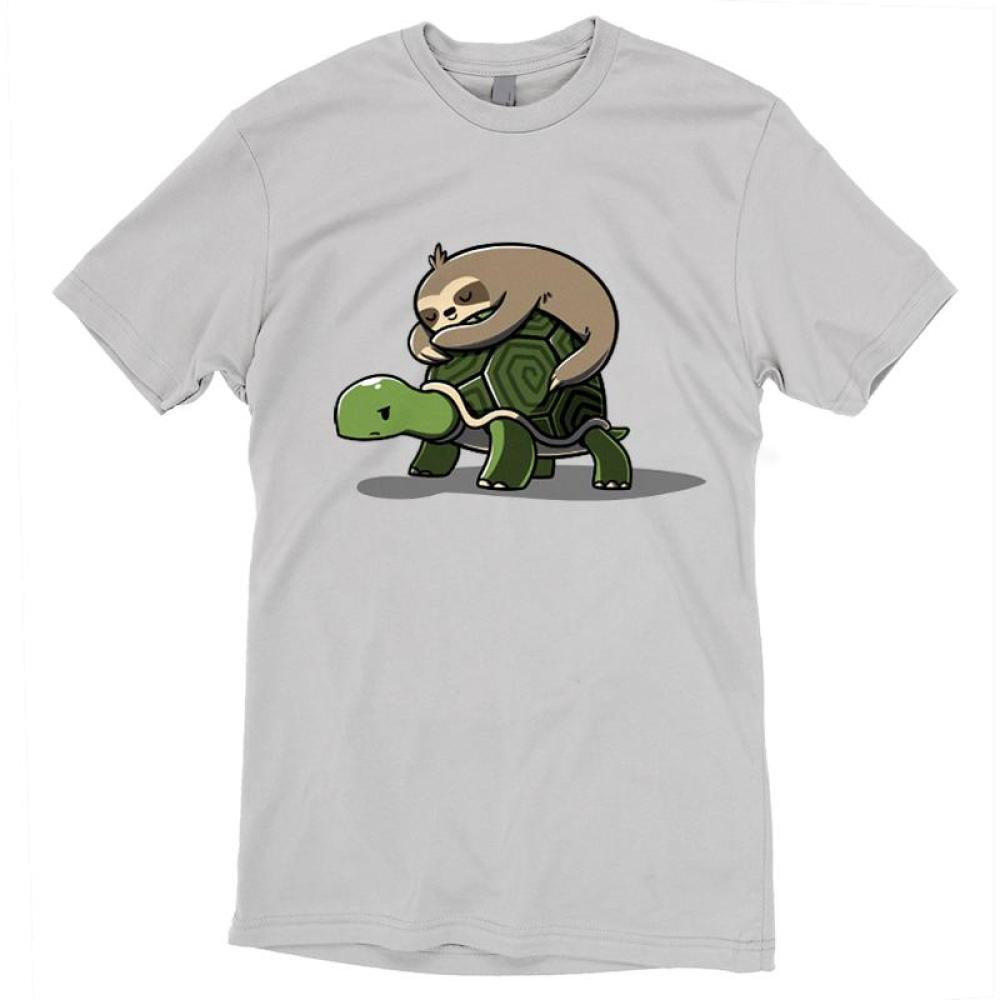 Feeling Slow T-Shirt TeeTurtle Gray t-shirt featuring a brown sloth sleeping on the back of a turtle