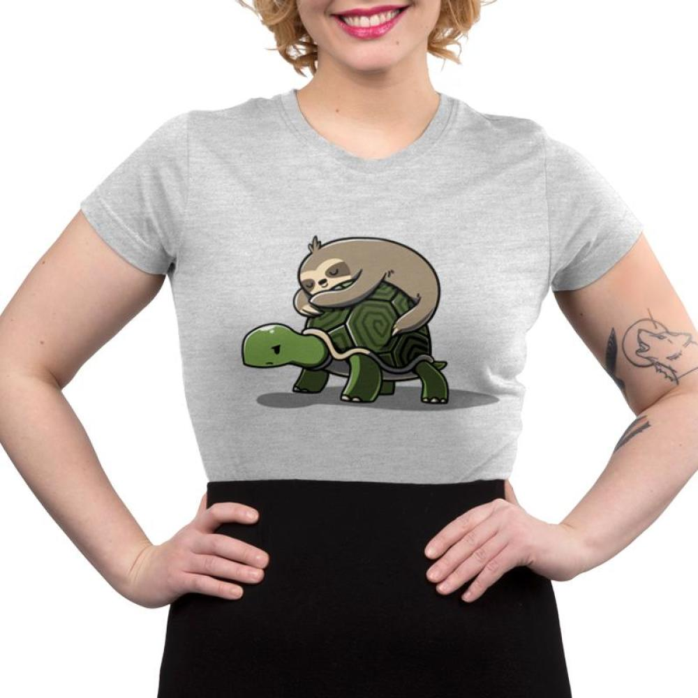Feeling Slow Men's Juniors T-Shirt model TeeTurtle Gray t-shirt featuring a brown sloth sleeping on the back of a turtle