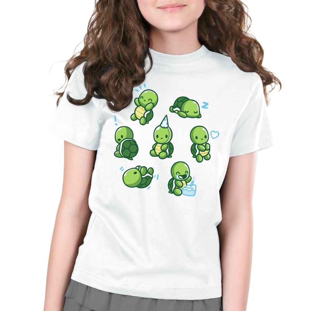 Limited Edition 2019 TeeTurtle Birthday Shirt Kids T-shirt Model TeeTurtle white t-shirt featuring 7 turtles all doing different things such as eating birthday cake, sleeping wearing a party hat, etc.