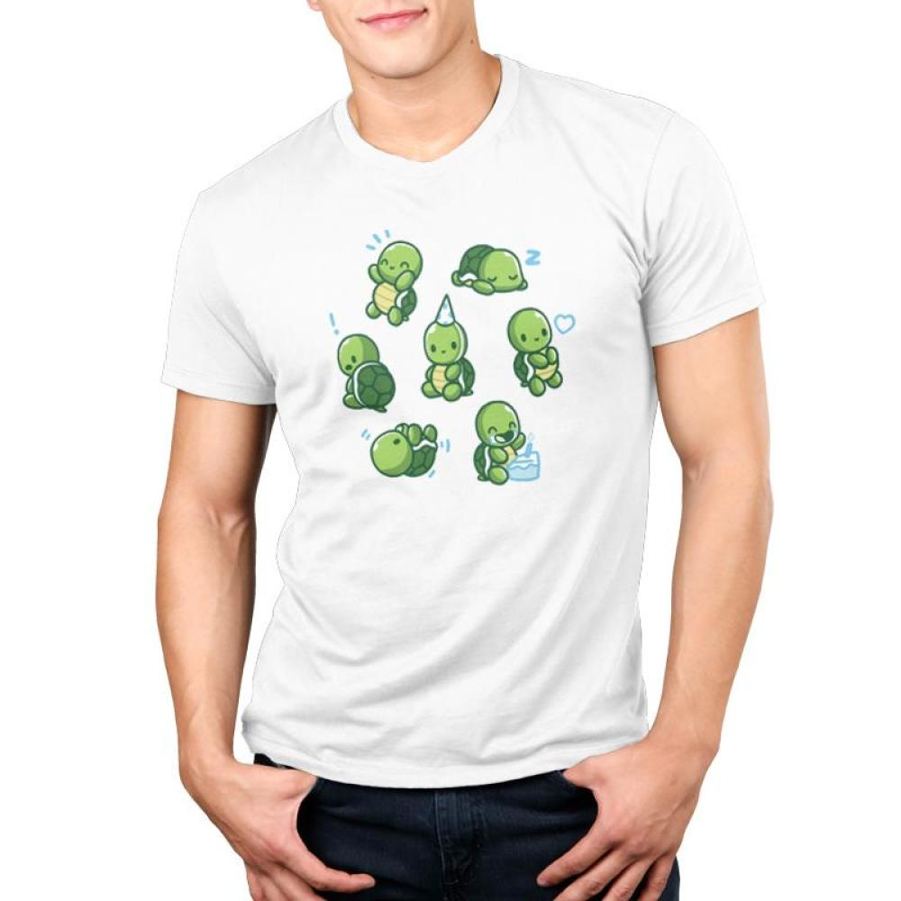 Limited Edition 2019 TeeTurtle Birthday Shirt Men's T-shirt Model TeeTurtle white t-shirt featuring 7 turtles all doing different things such as eating birthday cake, sleeping wearing a party hat, etc.