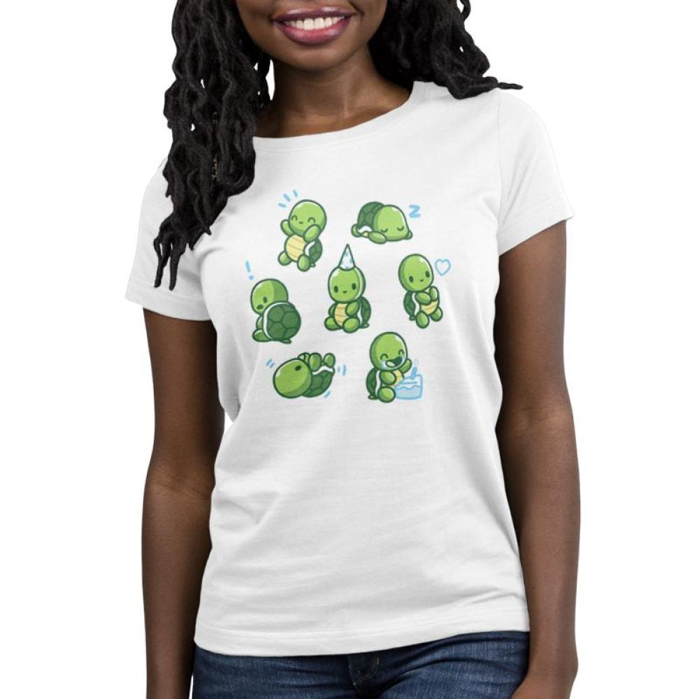 Limited Edition 2019 TeeTurtle Birthday Shirt Women's T-shirt Model TeeTurtle white t-shirt featuring 7 turtles all doing different things such as eating birthday cake, sleeping wearing a party hat, etc.