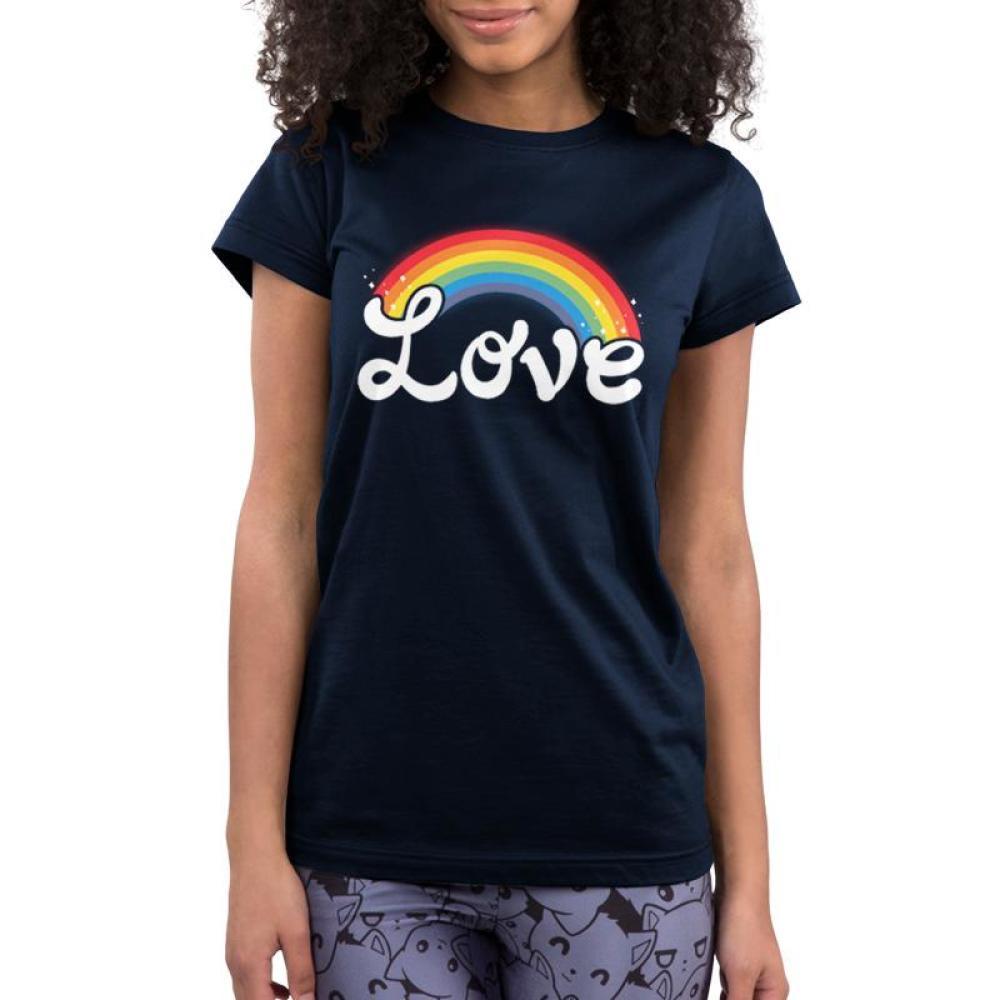 Love Juniors T-Shirt Model TeeTurtle black t-shirt featuring shirt text