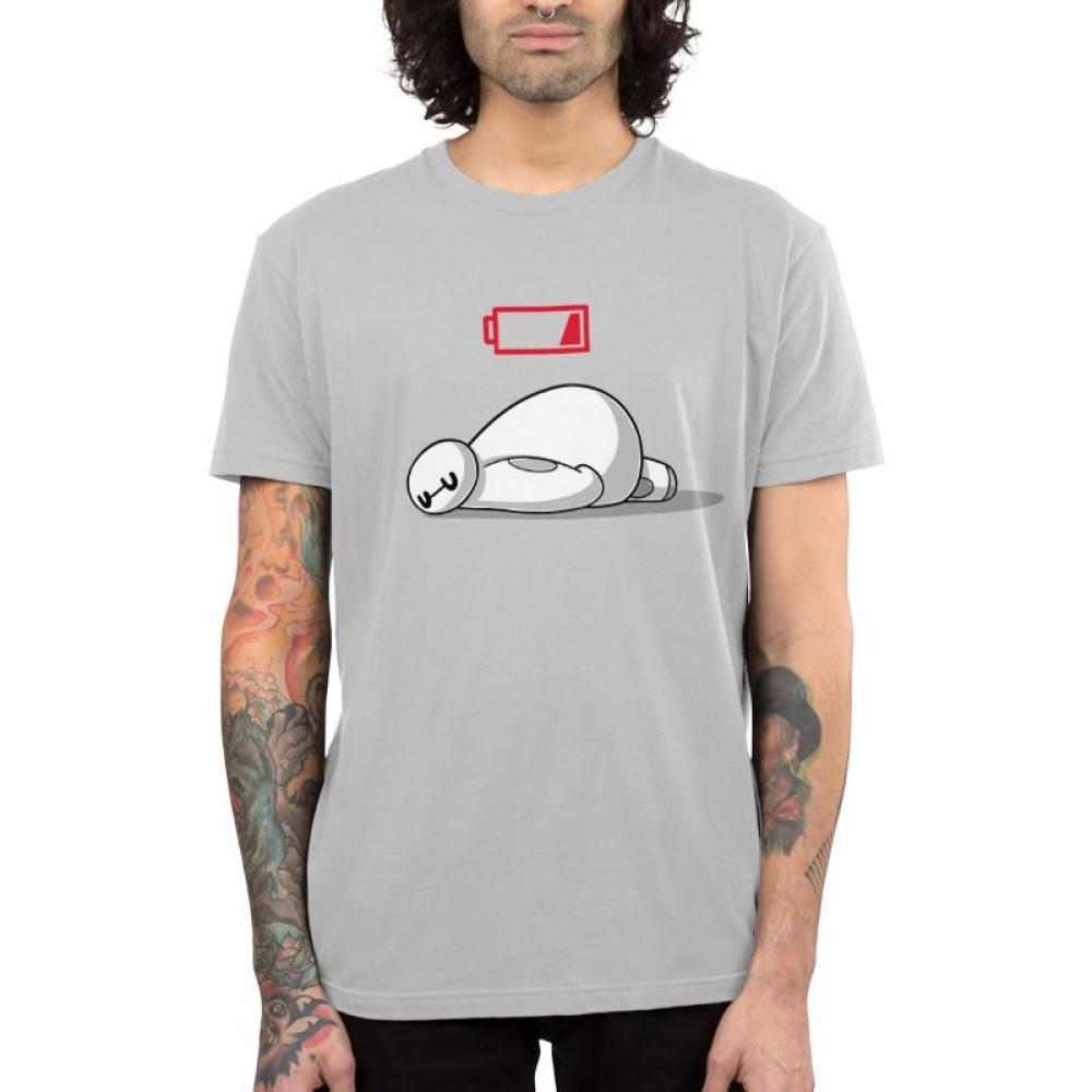Gray officially licensed Disney Big Hero 6 t-shirt featuring Baymax with a low battery symbol