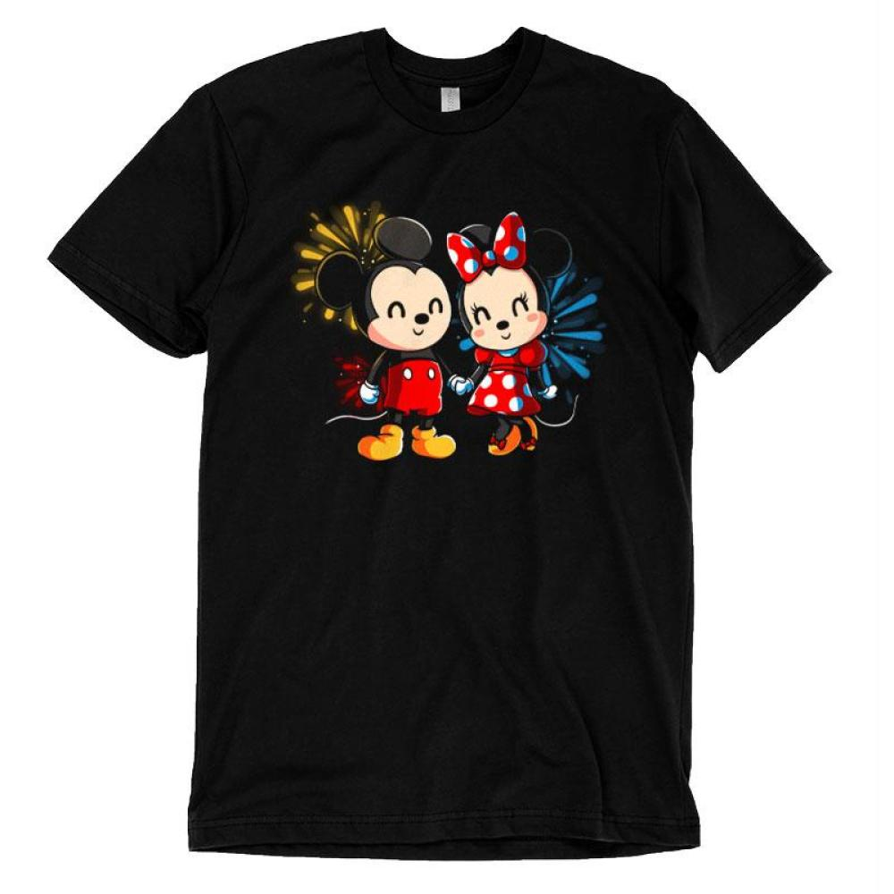 Mickey and Minnie Forever T-Shirt Disney TeeTurtle black t-shirt featuring Micke and Minnie Mouse with fireworks in the background