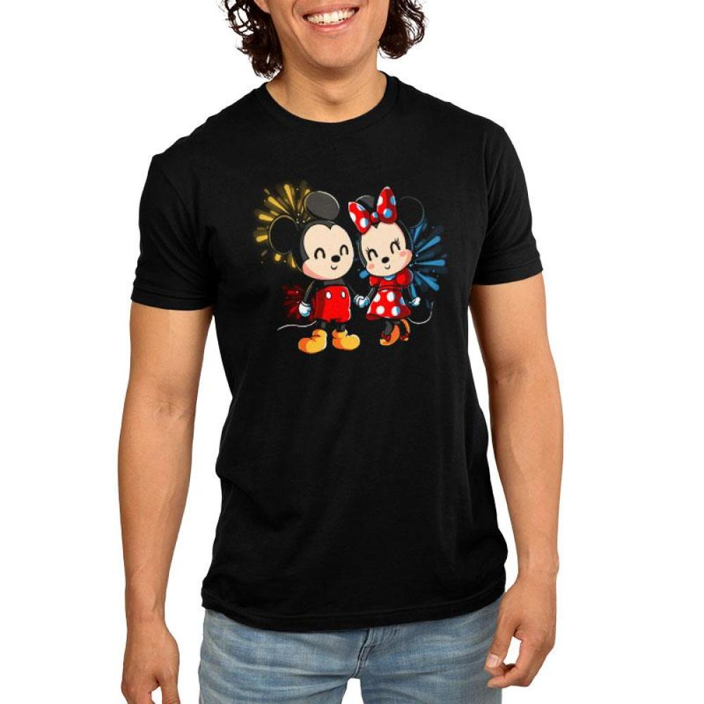 Mickey and Minnie Forever Men's T-Shirt Model Disney TeeTurtle black t-shirt featuring Micke and Minnie Mouse with fireworks in the background