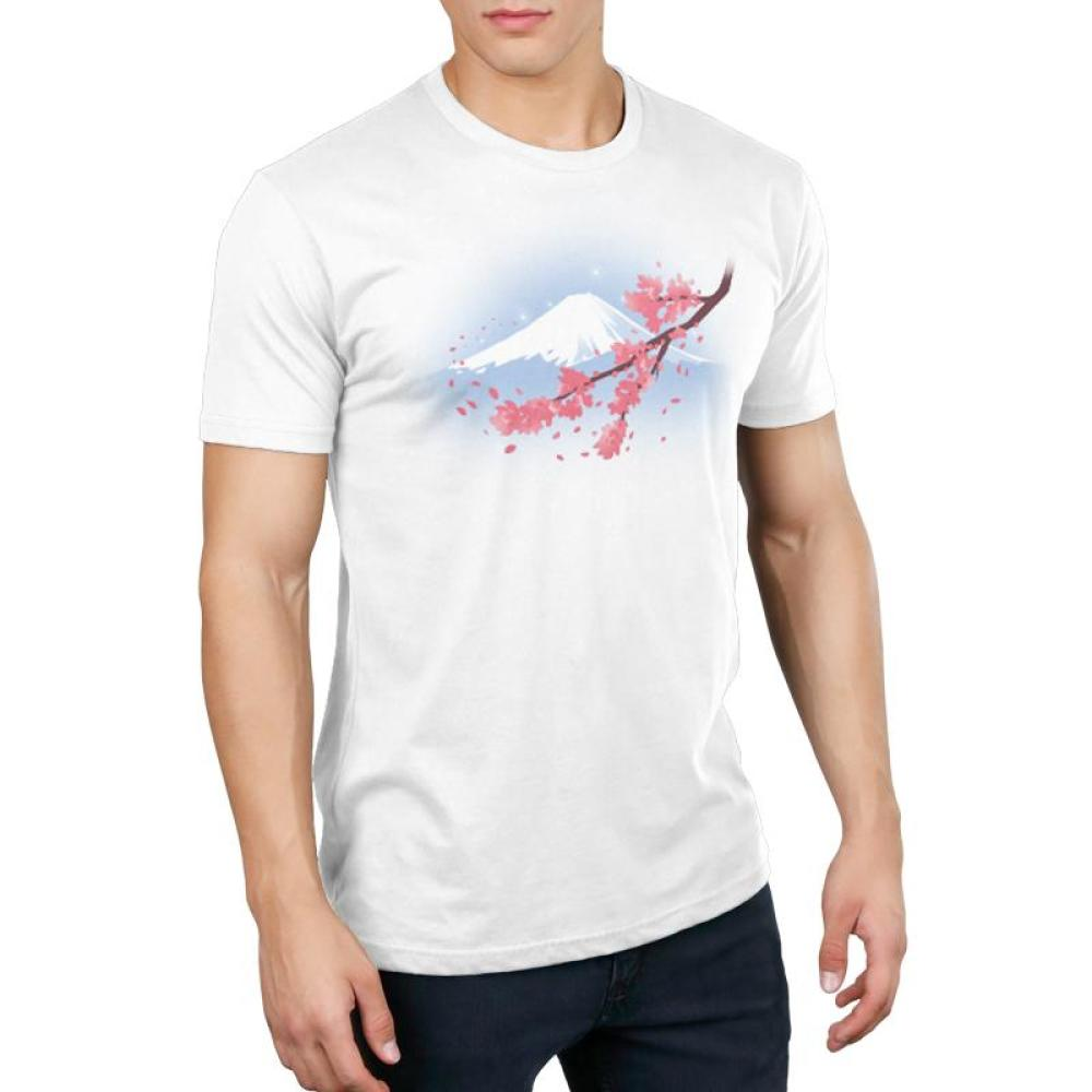 Mount Fuji T-Shirt Men's TeeTurtle model white t-shirt with an image of Mt. Fuji with a cherry blossom branch in front of it