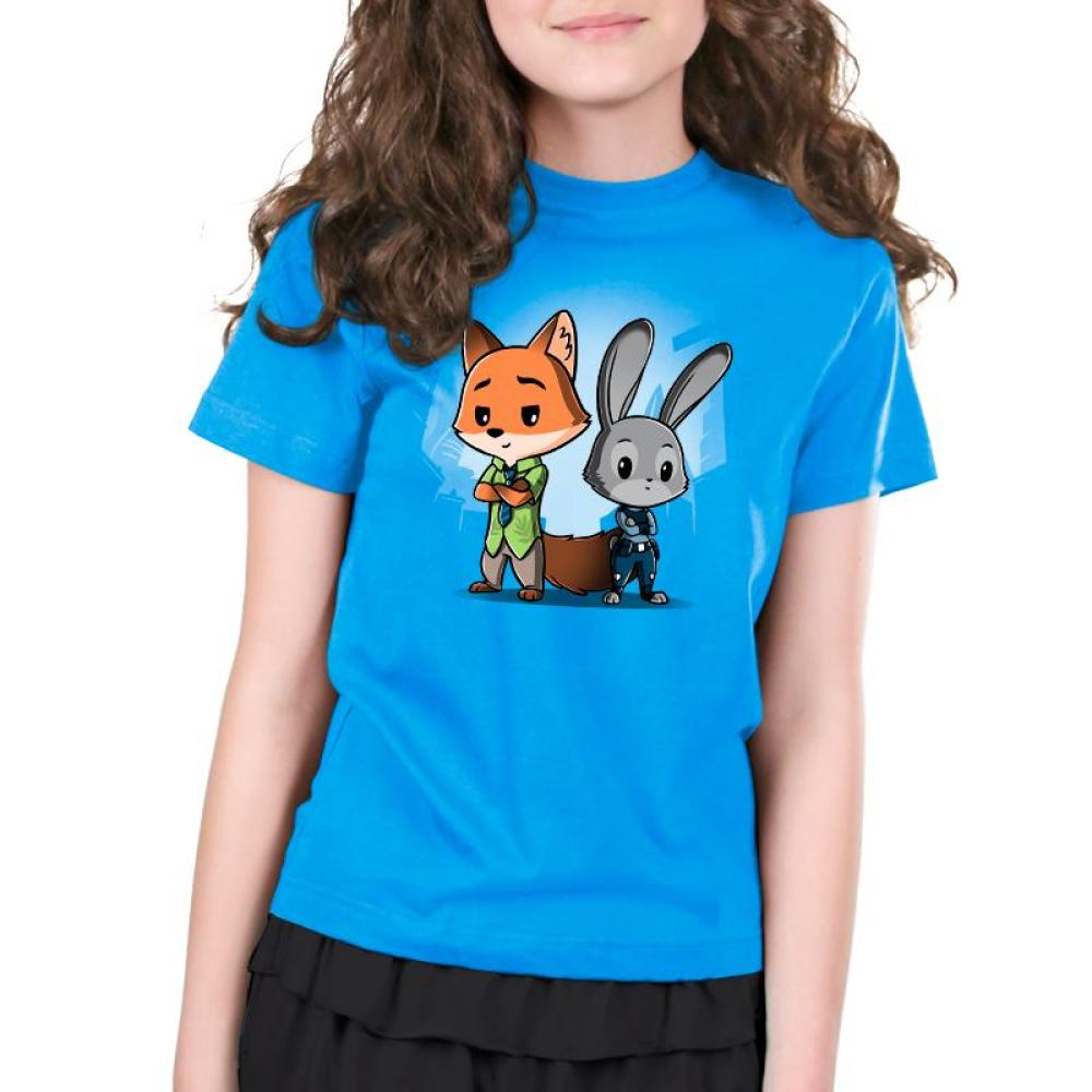 Nick Wilde & Judy Hopps Kids T-shirt model Disney TeeTurtle blue t-shirt featuring nick wilde and judy hopps from Zootopia standing side by side