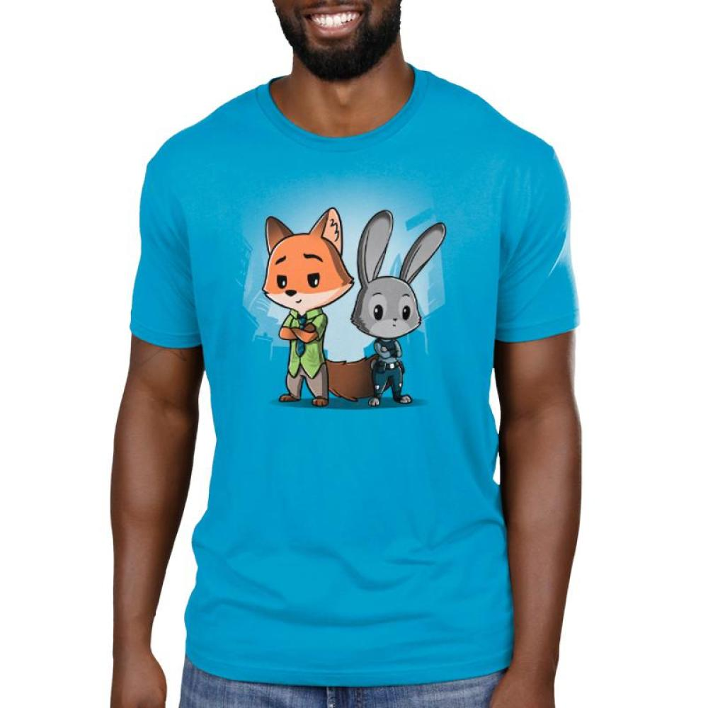 Nick Wilde & Judy Hopps Men's T-shirt model Disney TeeTurtle blue t-shirt featuring nick wilde and judy hoppes from Zootopia standing side by side