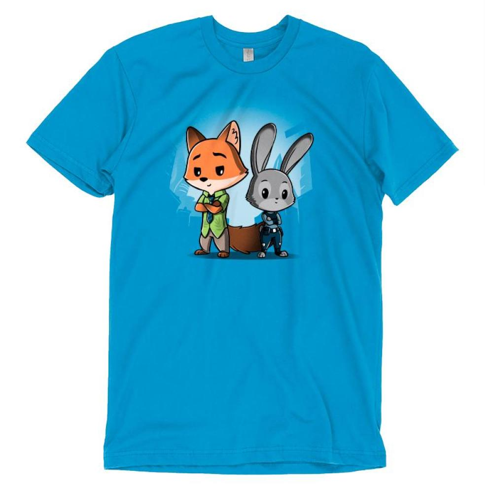 Nick Wilde & Judy Hopps T-shirt Disney TeeTurtle blue t-shirt featuring nick wilde and judy hoppes from Zootopia standing side by side