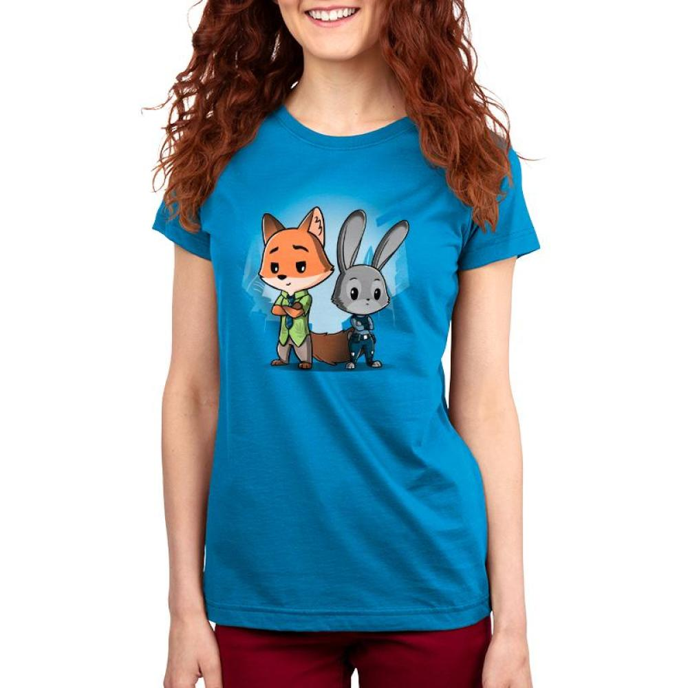 Nick Wilde & Judy Hopps Women's T-shirt model Disney TeeTurtle blue t-shirt featuring nick wilde and judy hoppes from Zootopia standing side by side